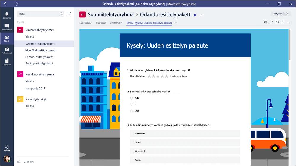"""Microsoftin Teams, jossa näkyy lomakkeen """"täyttö-tilassa lomakkeet-välilehti"""