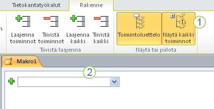 Access 2010:n makron rakennenäkymä -välilehti.