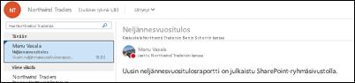 Keskustelut käydään Office 365 -ryhmän jaetussa Saapuneet-kansiossa.
