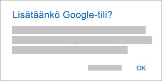 Napauta OK, jotta Outlook voi käyttää tilejäsi.