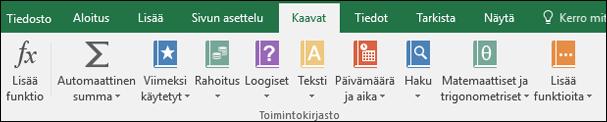 Valintanauhan Excel-kaavat-välilehti