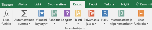 Valinta nauhan Excel-kaavat-väli lehti