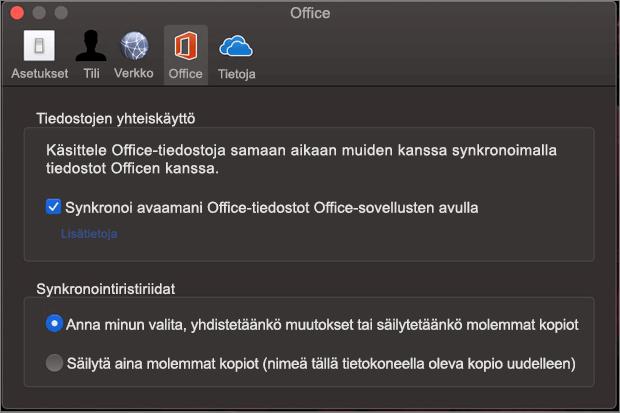 Microsoft OneDriven Office-väli lehti, jossa Synkronoi Office-vaihto ehto on valittuna