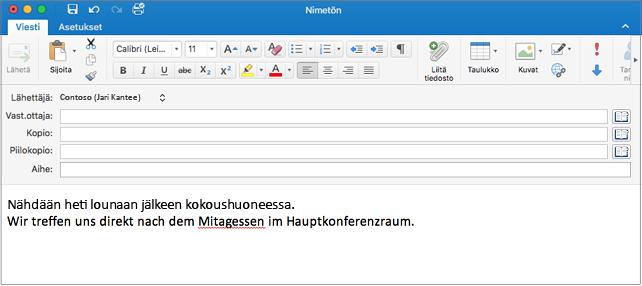 Englannin- ja saksankielinen virke, jossa saksaksi väärin kirjoitettu sana. Kirjoitusvirheet alleviivataan punaisella.