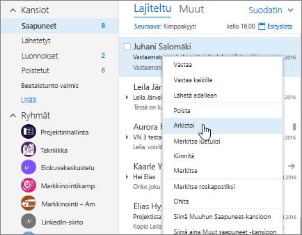Näyttökuva Saapuneet-kansiosta, jossa näkyy viestin kakkospainikevalikko, valittuna Arkisto.