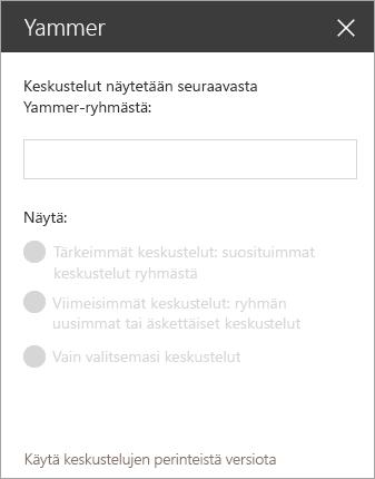 Yammer-verkko-osan haku palkki