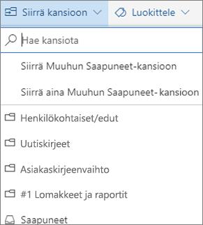 Outlookin verkkoversion lajiteltu Saapuneet-kansio