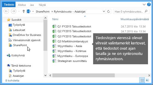 Siirry työpöydän synkronoituun tiedostoon Resurssienhallinnassa. Se on SharePoint-kansiossa.