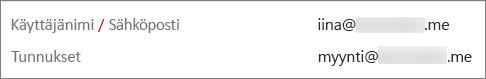 Tällä käyttäjällä on ensisijainen sähköpostiosoite ja sähköpostitunnus.