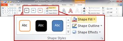 PowerPoint 2010:n valintanauhan Muoto-välilehti