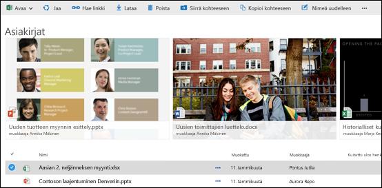 Office 365: tiedosto- ja kansiovalikko
