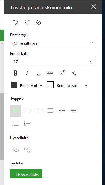 Teksti-ja taulukko muotoilu-sivun avaaminen