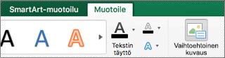 Vaihtoehtoinen teksti-painike SmartArt-grafiikalle Excel for Macissa