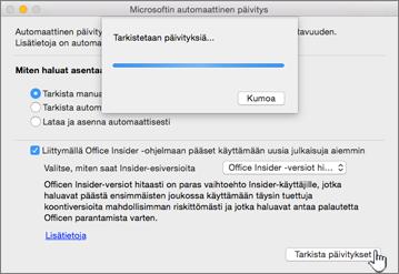 Macin Insider-versiot hitaasti -päivitysten tarkistaminen