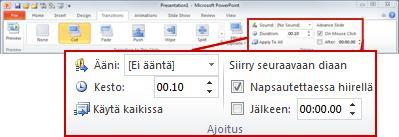 PowerPoint 2010 -valintanauhan Siirtymät-välilehden Ajoitus-ryhmä.
