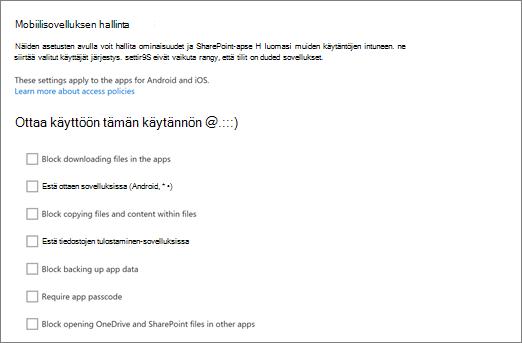 Hallitse Onedriveen hallintakeskukseen OneDrive- ja SharePoint-mobiilisovellukset