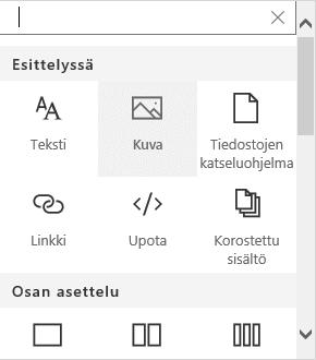 Näyttökuva kuvan verkko-osan valinnasta SharePointissa.