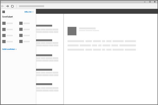 Selainikkuna, jossa on Office 365:n sovellusten käynnistin avattuna