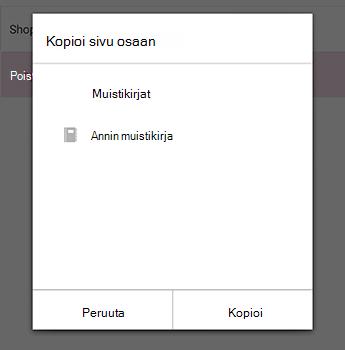 Kopioi sivu-valikko OneNote for Android