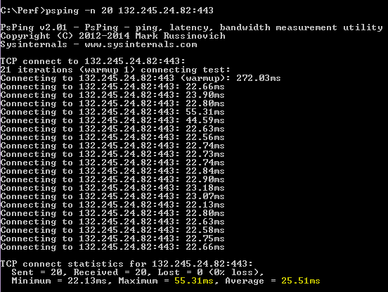PSPing-komento psping -n 20 132.245.24.82:443 palauttaa keskimäärin 25,51 millisekunnin viiveen.