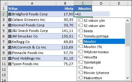 Linkitetty tietotyyppi osakkeita varten