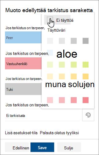 SharePoint-sarakkeen muotoilun taustan täyttö värin muokkaus malli vaihtoehdot