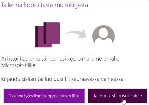 Tallenna Microsoft-tilille