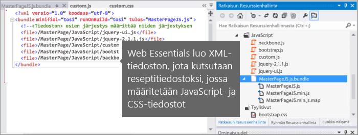 Näyttökuva JavaScript- ja CSS-tiedostosta