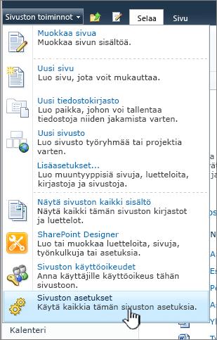 Sivuston asetukset -vaihtoehto Sivuston toiminnot -valikossa