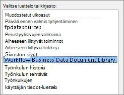 Valitse luettelo tai kirjasto -valikko