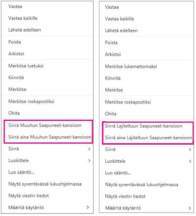 Siirrä Lajiteltu-välilehdelle ja Siirrä Muut-välilehdelle Outlookin verkkoversiossa