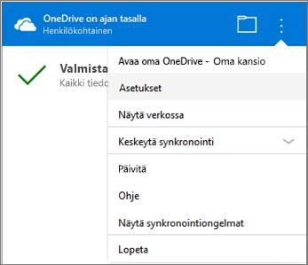 OneDrive-synkronoinnin toimintokeskus, Lisää asetuksia