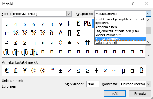 Näyttää yläindeksin ja yläindeksin alijoukon PowerPointin Symboli-valintaikkunassa