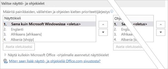 Office 2016:n kieliasetukset
