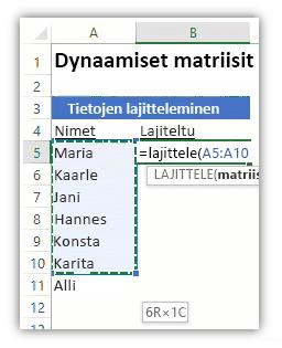 Näyttökuva Excel-laskentataulukosta, jossa näkyy tietoluettelo ja LAJITTELE-funktiota käyttävä kaava luettelon lajittelemista varten.
