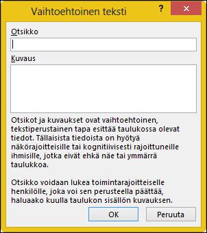Vaihtoehtoinen teksti-valintaikkunan Excelissä