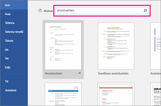 Haettava sana, Resume, on korostettuna Uusi tiedosto -ikkunassa.