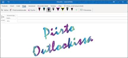 Sähköpostiviesti Outlookissa ja piirustus kimaltavalla musteella