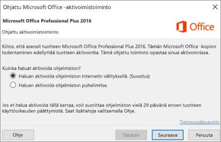 Näyttää ohjatun Office-aktivoimistoiminnon, joka saattaa käynnistyä Officen asentamisen jälkeen.