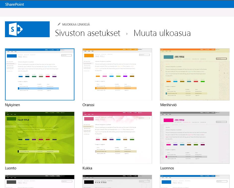 Valitse ulkoasu SharePoint Online -julkaisusivuston saatavilla olevista teemoista
