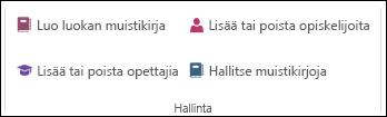 Näyttö kuva OneNote-työkirjan hallinta vaihtoehdoista