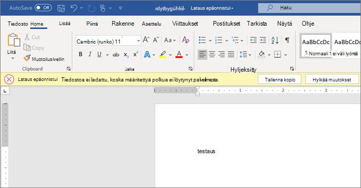 Näyttökuva Upload virheestä muokattaessa asiakirjaa Wordissa