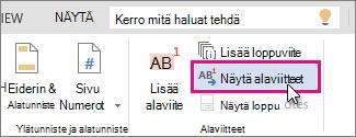 Word Onlinen Näytä alaviitteet -painike
