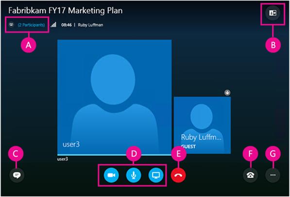 Skype for Business Web Appin käyttöliittymän osat nimettynä