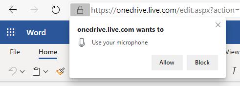 Näyttö kuva mikrofonin käyttö oikeuksien käyttöönotosta.