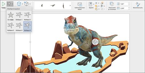 3D-malli, jossa näkyy animaatiovalinnat