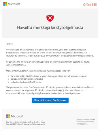 Näyttö kuva Microsoftin kiristys ohjelmien tunnistus sähkö postista