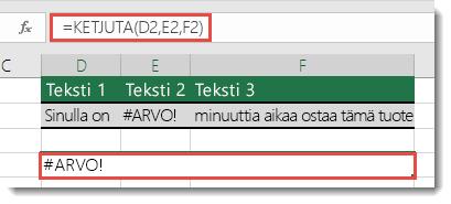 KETJUTA-funktion #ARVO!-virhe