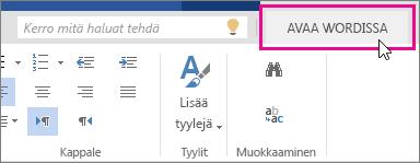 Word Onlinen Muokkaa-näkymän Avaa Wordissa -komento