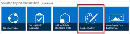 Vastaluotu sivusto SharePoint Onlinessa, jossa näkyy valittavana olevia ruutuja sivuston mukauttamista varten